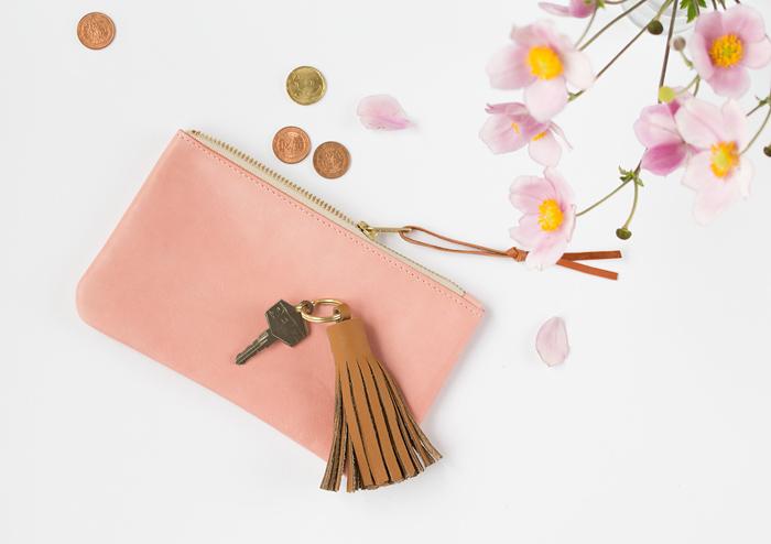DIY leather tassel keychain
